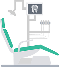 Illustration of a green dentist chair, connected to a light, tools, and a screen with an image of a tooth