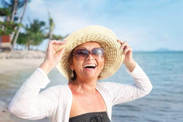 Thrilled Woman Smiling
